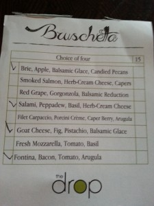 The Drop Menu Bruschetta